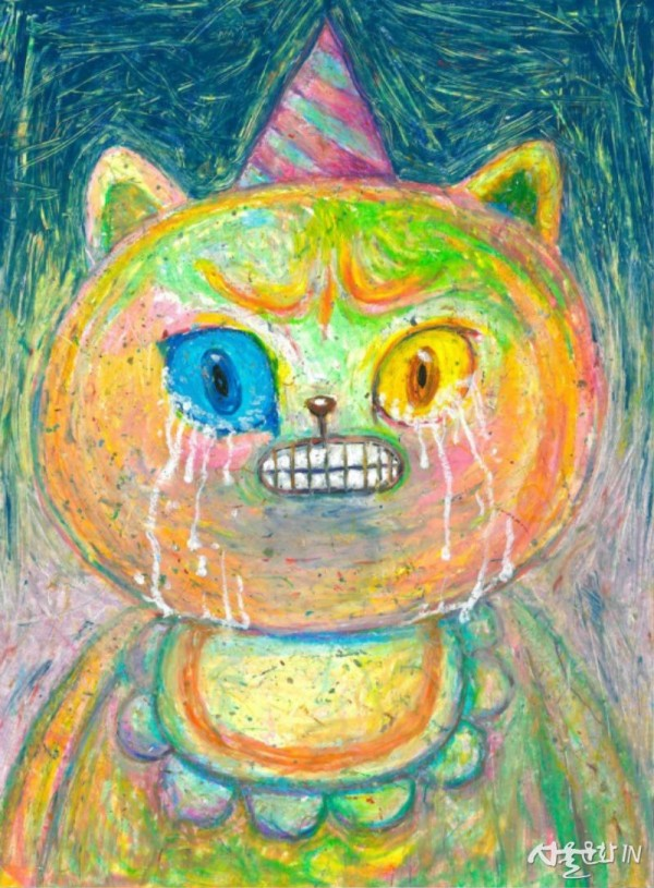 Kun, Sad Birthday Kuncat, 2018, Oil Pastel, 33 x 43cm.jpg