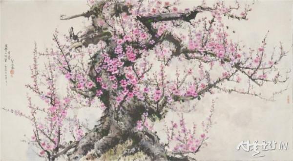 문화춘, 고목에 핀 꽃, 192X104, 장지에 채색, 2006  01.jpg