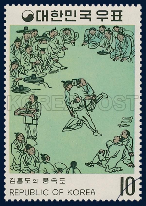 1971년 발행된 김홍도의 풍속도 우표-1.jpg