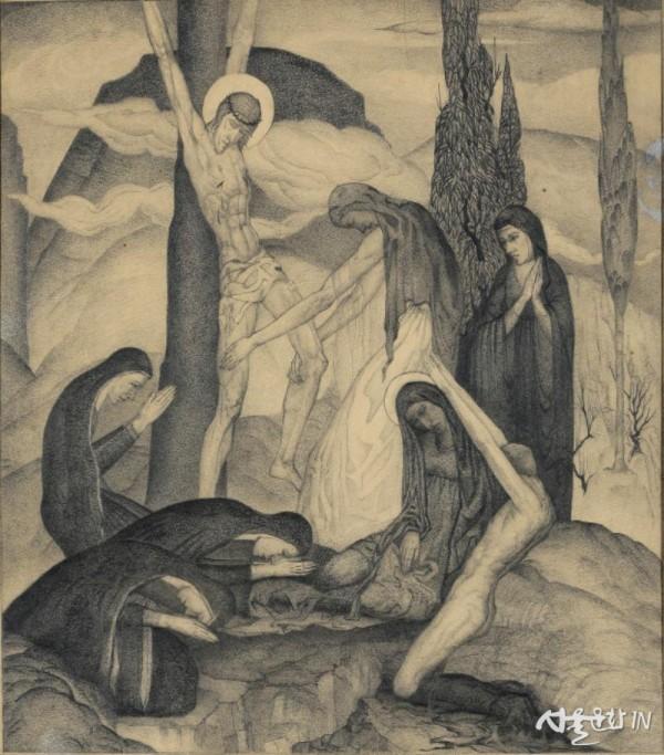 임용련, 십자가, 1929, 종이에 연필, 37 × 35 cm, 개인 소장.jpg