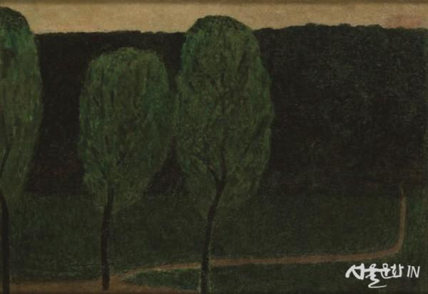 최재덕, 한강의 포플라 나무, 1940년대, 캔버스에 유채, 46×66cm, 개인 소장.jpg