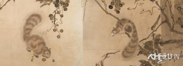 포도다람쥐병풍 다람쥐 세부(좌척, 우척).jpg
