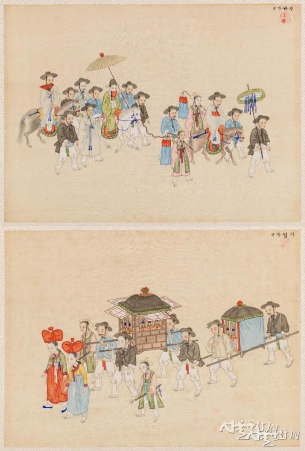 김준근의 장가가고(위), 시집가고(아래), 국립민속박물관 -1.jpg