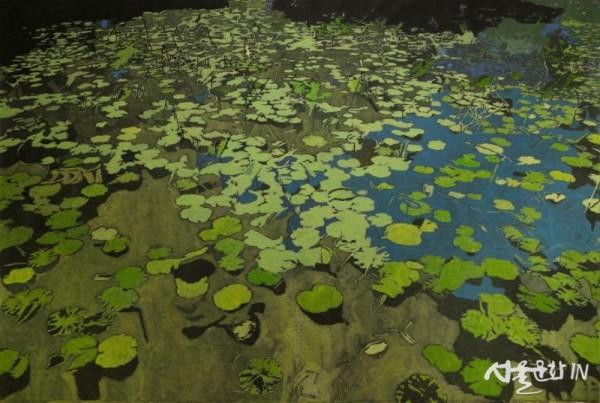 권세진_작은 연못, 종이에 먹, 과슈.jpg