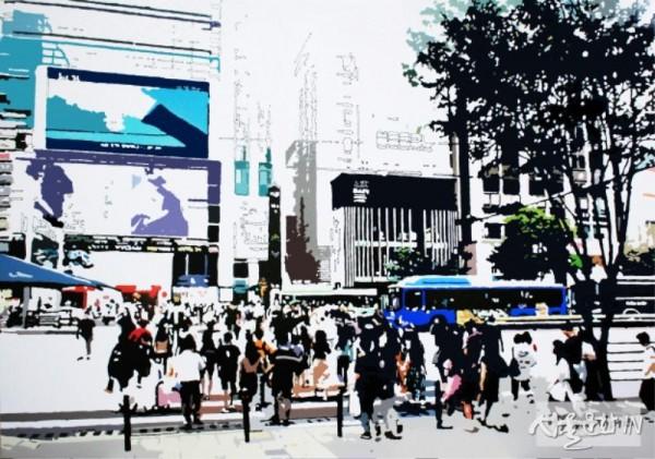 임미나 워터마크_Desire of the city_enamel,hologram_112.1X162.2cm_2019.jpg