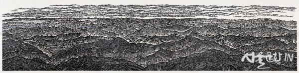 정비파, 백두대간, 140x600cm, 한지에 다색목판화, 2015.jpg