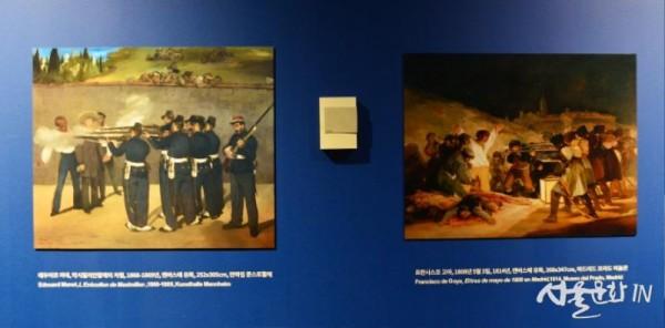 한국에서의 학살의 모티브가 된 막시밀리안 황제의 처형(마네) 1868-69, 1808년 5월 3일(고야) 1814.jpg