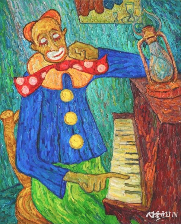 Airapetyan 슬픈 광대 111x90cm Oil on Canvas 1991.jpg