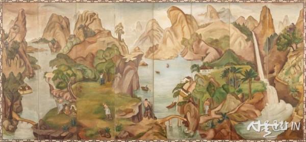 백남순, 낙원, 1936년경, 캔버스에 유채; 8폭 병풍, 173x372cm..jpg