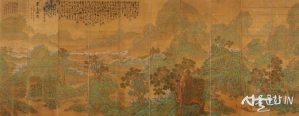 이상범, 무릉도원, 1922, 비단에 채색; 10폭 병풍, 이미지 159x39x(2), 159x41x(8)cm, 병풍 202x413cm..jpg