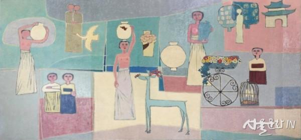 김환기, 여인들과 항아리, 1950년대, 캔버스에 유채, 281.5x567cm.jpg