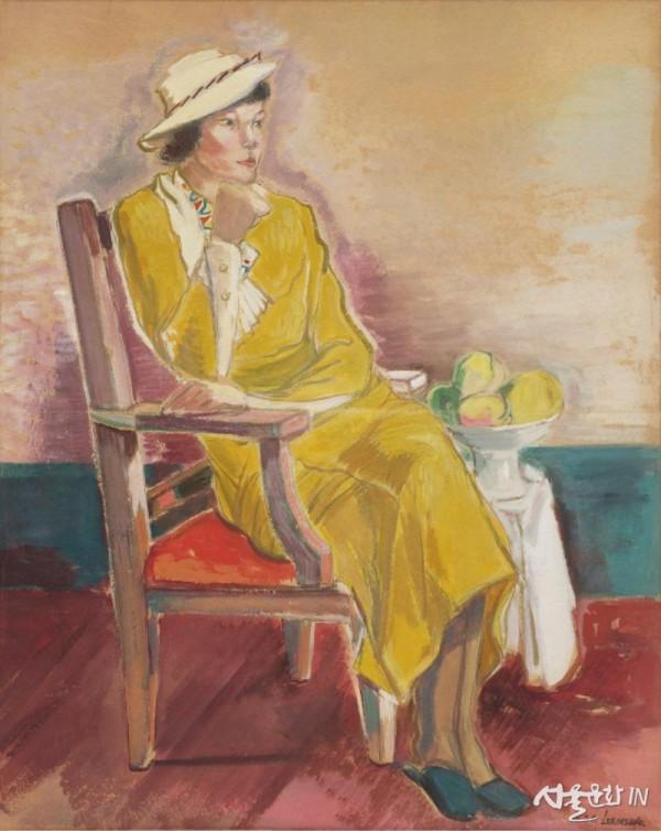 이인성 노란옷을 입은 여인상 1934 75x60cm, 종이에 수채 01.jpg